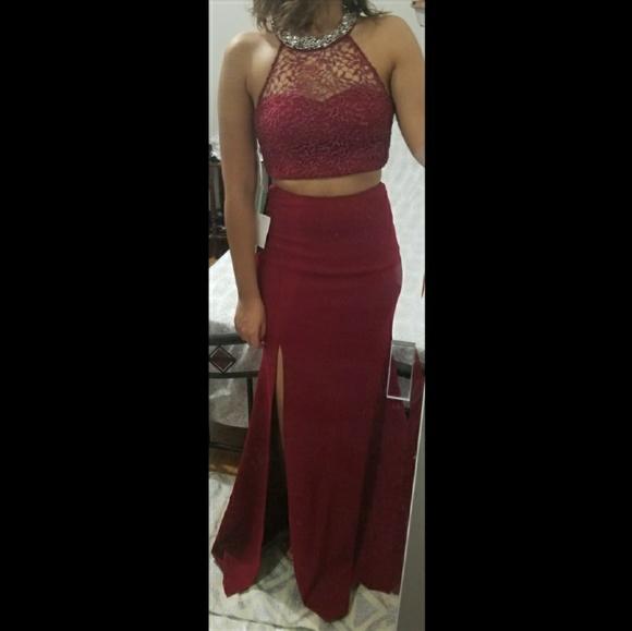 7fad5cd128cb My Michelle Dresses | Burgundy 2 Piece Crop Slit Formal Gown Prom ...